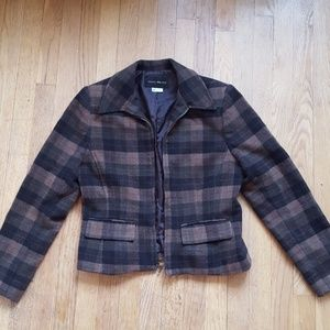Harris Wallace plaid fitted wool jacket M